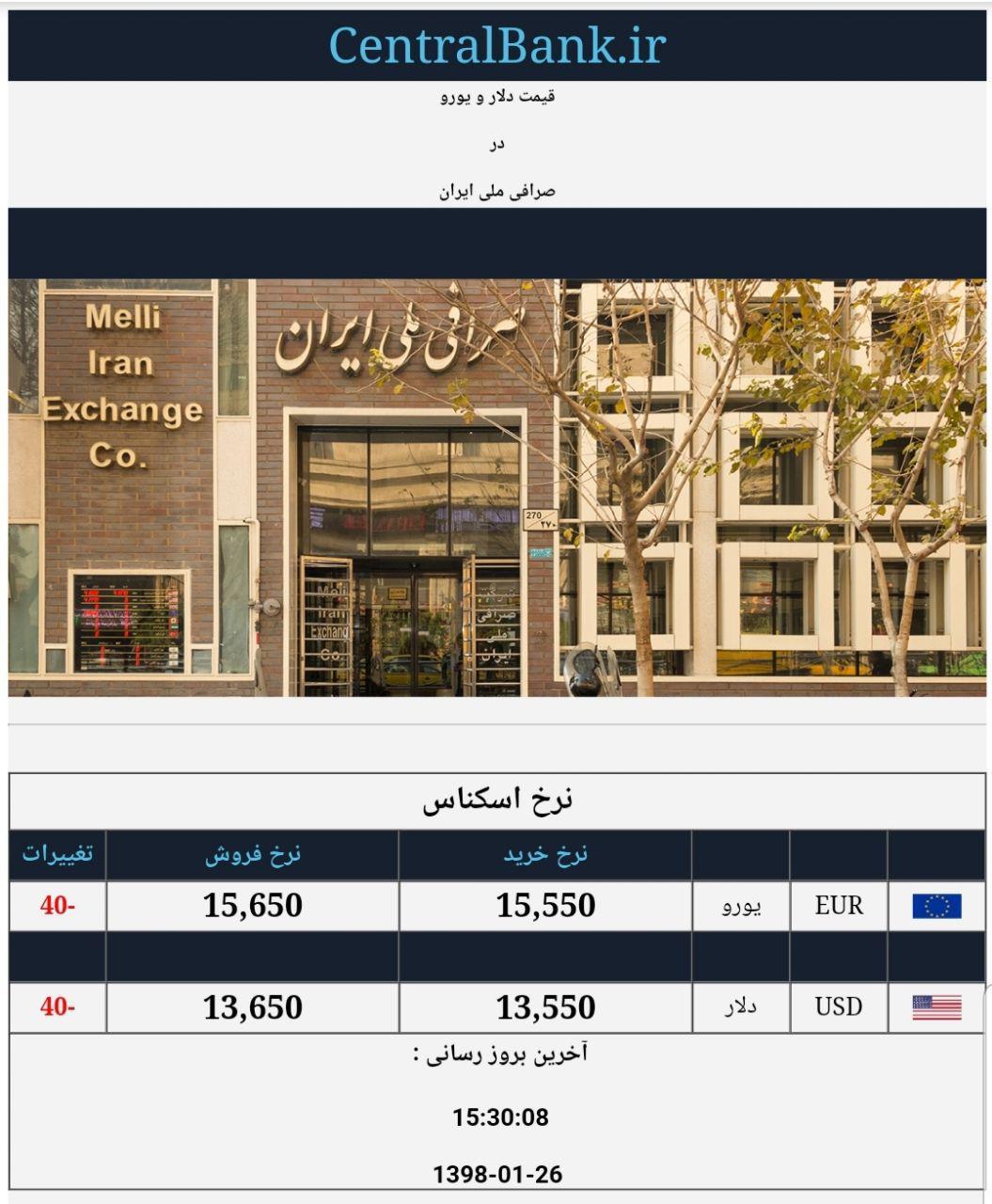 قیمت دلار و یورو در صرافی ملی امروز ۱۳۹۸/۰۱/۲۶