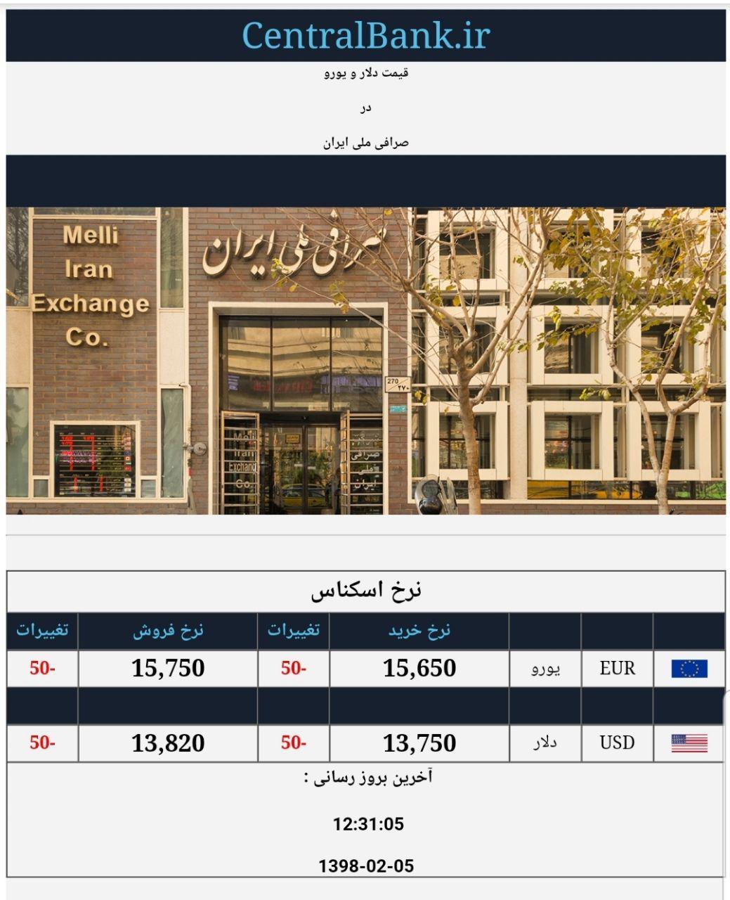 قیمت دلار و یورو در صرافی ملی امروز ۱۳۹۸/۰۲/۰۵