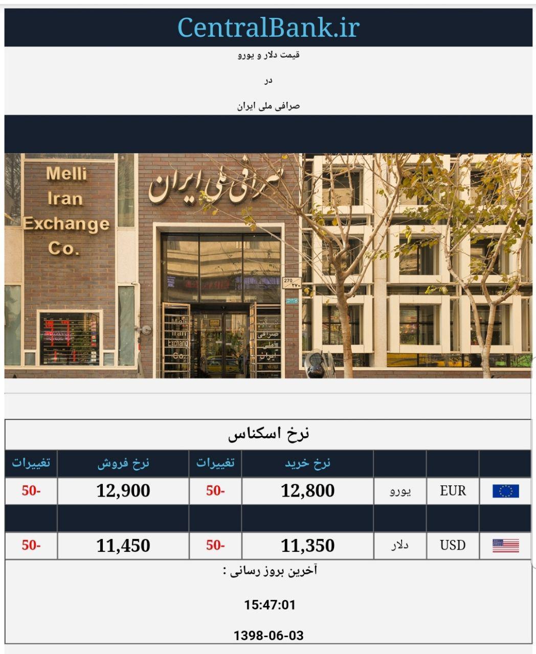 قیمت دلار و یورو در صرافی ملی امروز سوم شهریور 98