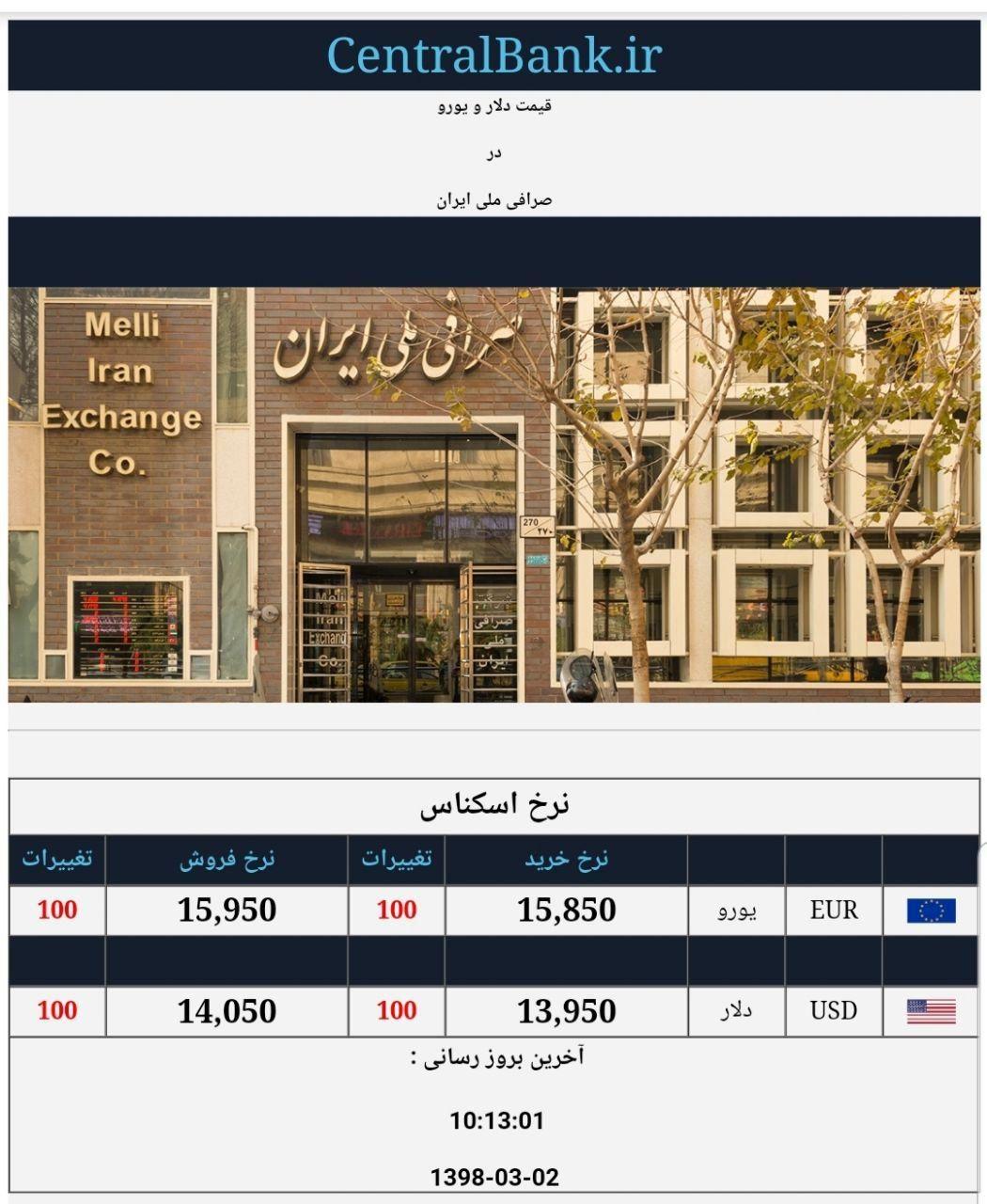 قیمت دلار و یورو در صرافی ملی امروز ۱۳۹۸/۰۳/۰۲