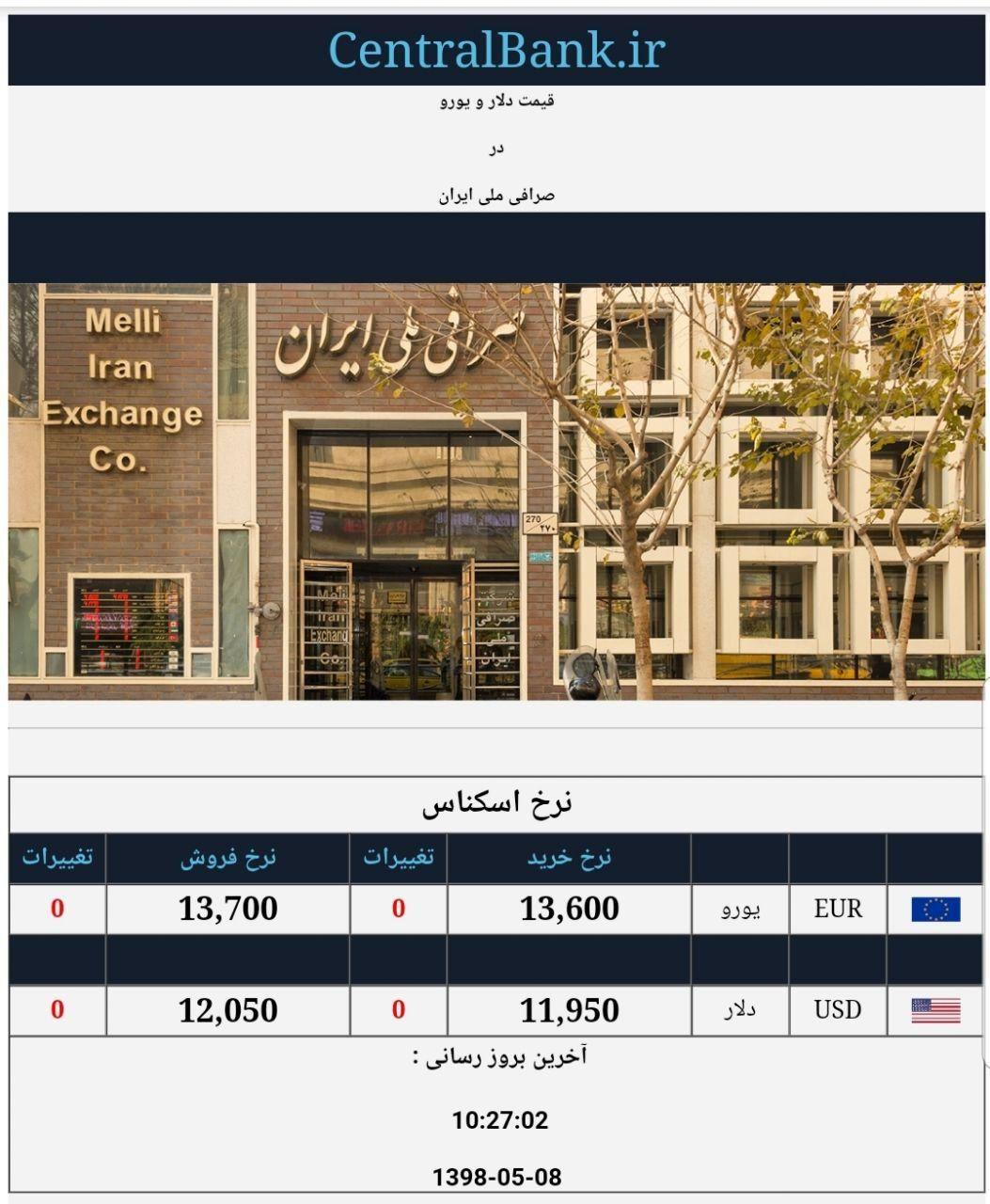 قیمت دلار و یورو در صرافی ملی امروز ۱۳۹۸/۰۵/۰۸  دلار در کانال ۱۱ هزار تومان ماند
