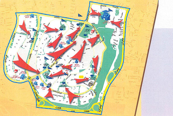نقشه گنگ تخلیه اضطراری تهران