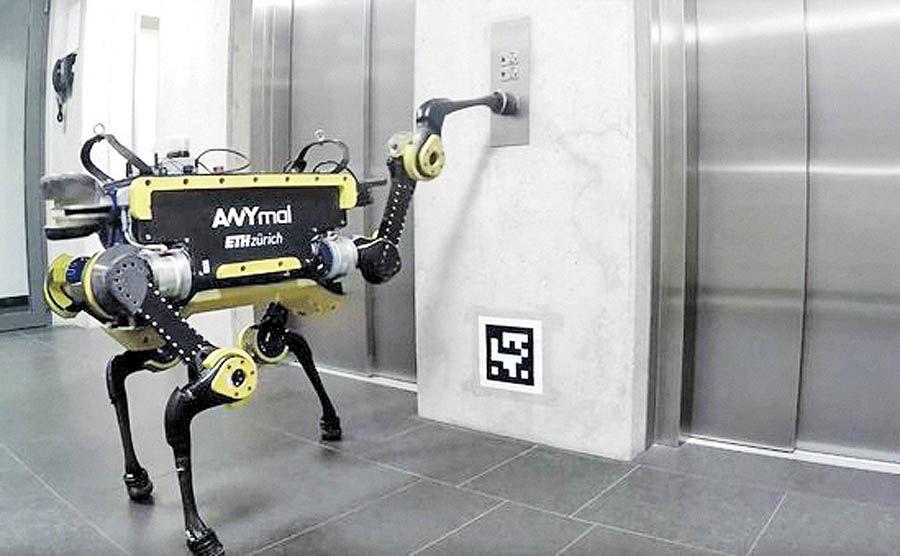 استفاده روبات چهارپا از آسانسور