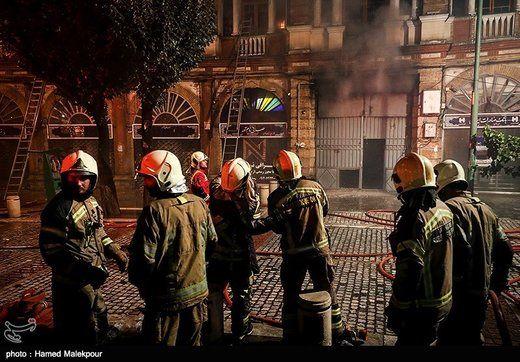 آتش سوزی در میدان حسن آباد تهران