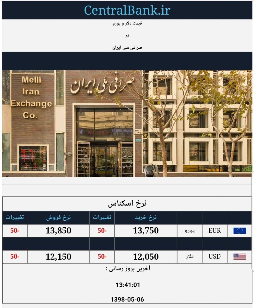قیمت دلار و یورو در صرافی ملی امروز ۱۳۹۸/۰۵/۰۶