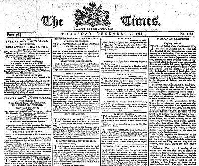 انتشار اولین شماره روزنامه تایمز