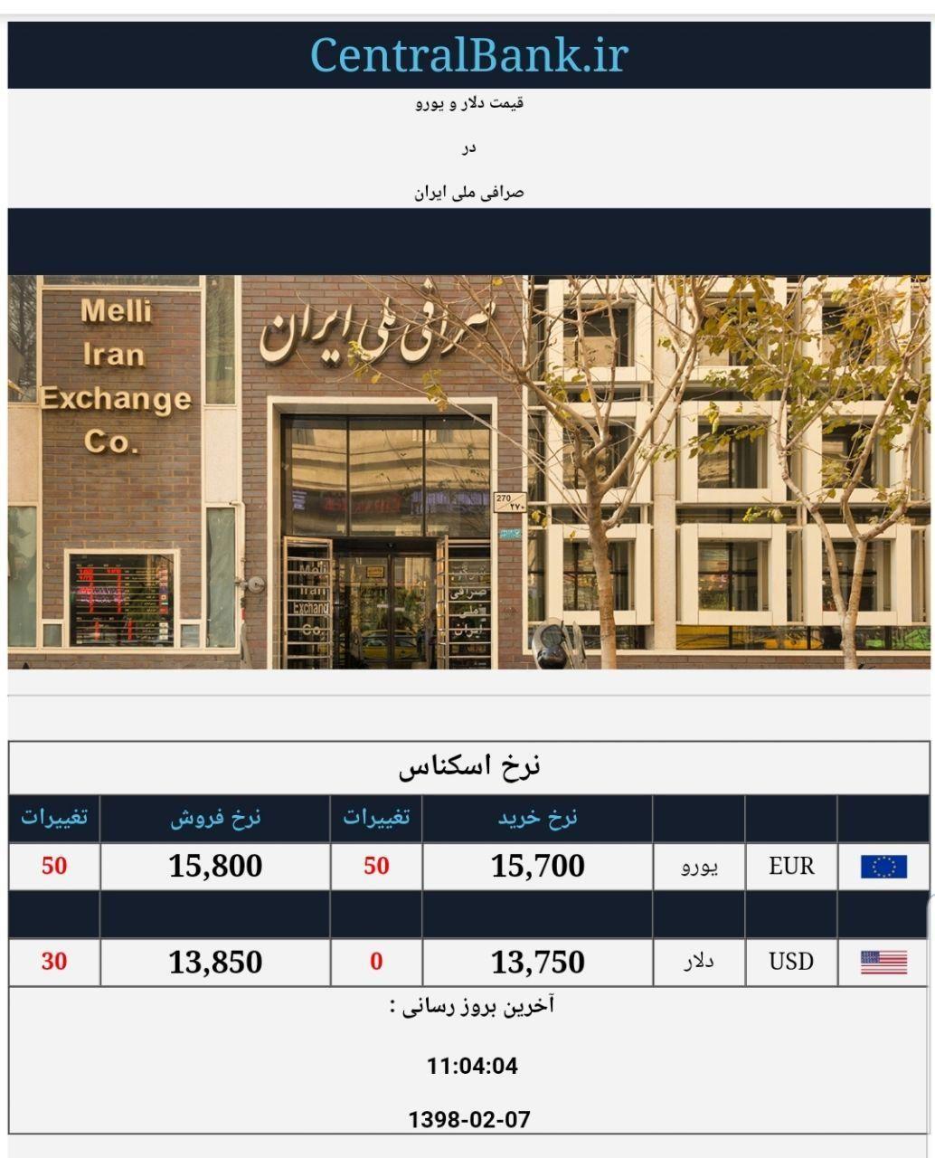 قیمت دلار و یورو در صرافی ملی امروز ۱۳۹۸/۰۲/۰۷