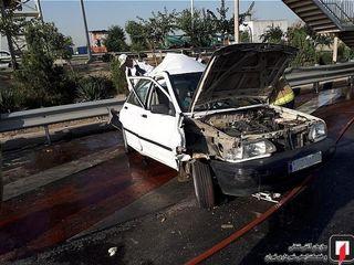تصادف کامیون و پراید